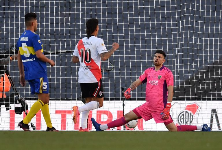 Scene of the match between Boca Juniors and River Plate
